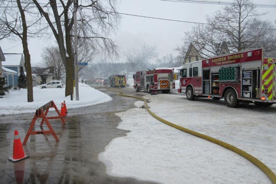 Saugeen Shores Fire Department throws everything they have to contain this fire
